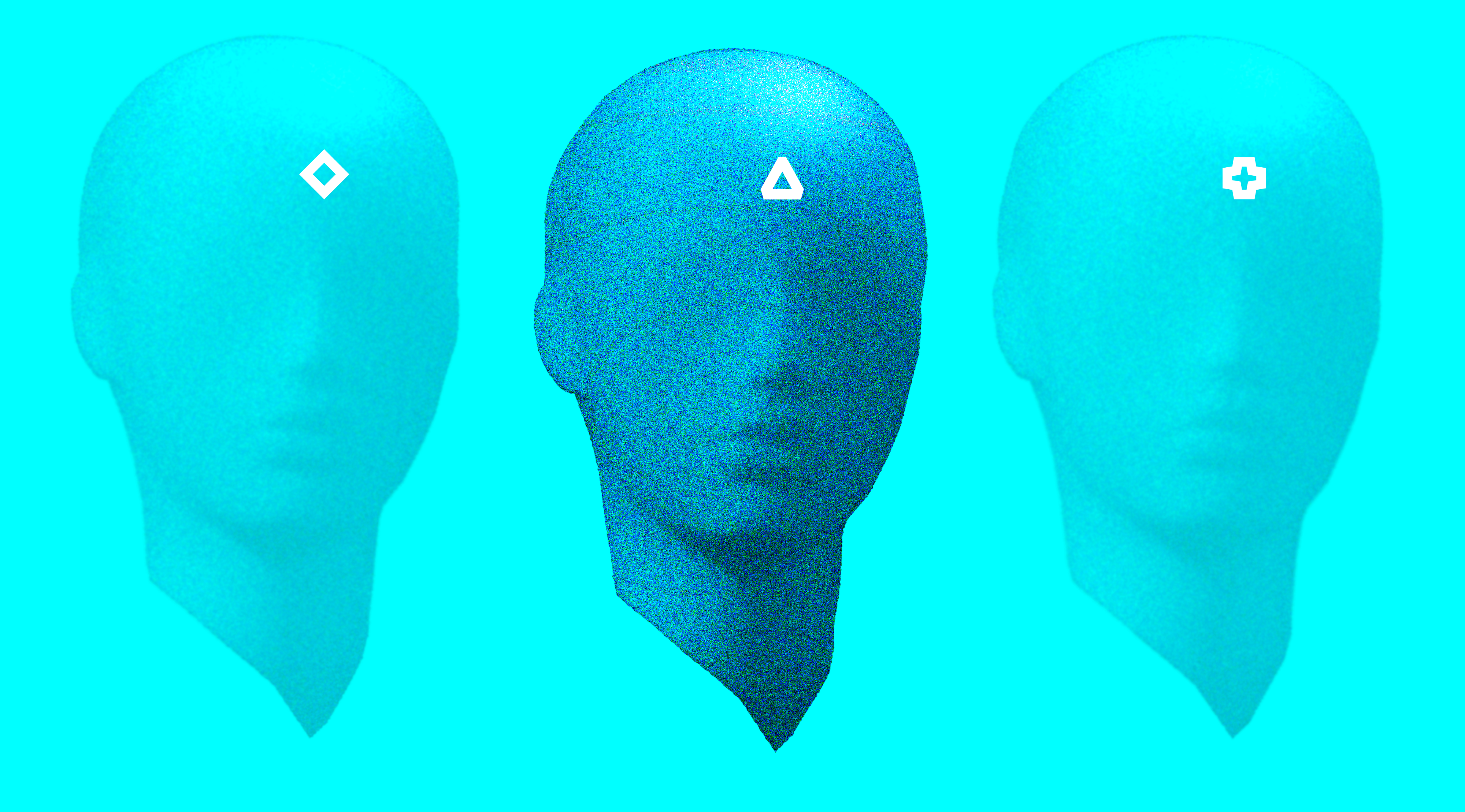 An expressive light blue image of 3 floating mannequin heads with Coletividad symbols into their forehead.